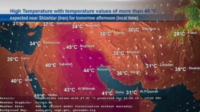 High temperature map of Iran