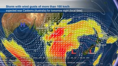 askMeteo wind storm in Australia graphic
