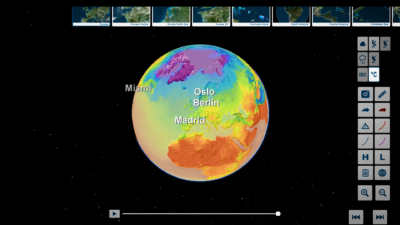 Earth globe weather temperature visualization