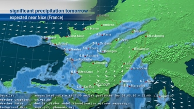 askMeteo significant precipitation weather map