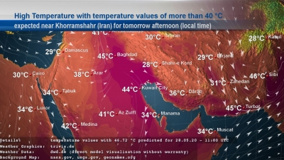 High temperature map of Iran
