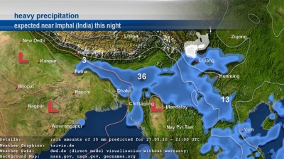 askMeteo heavy precipitation visualization near Imphal (India)